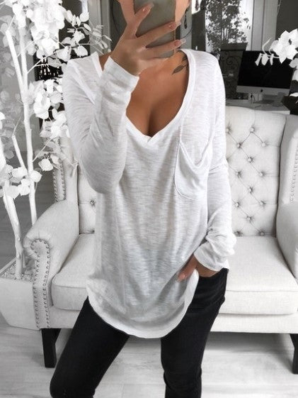 Pocket V Neck Plain T-Shirts - LuckinChic.com