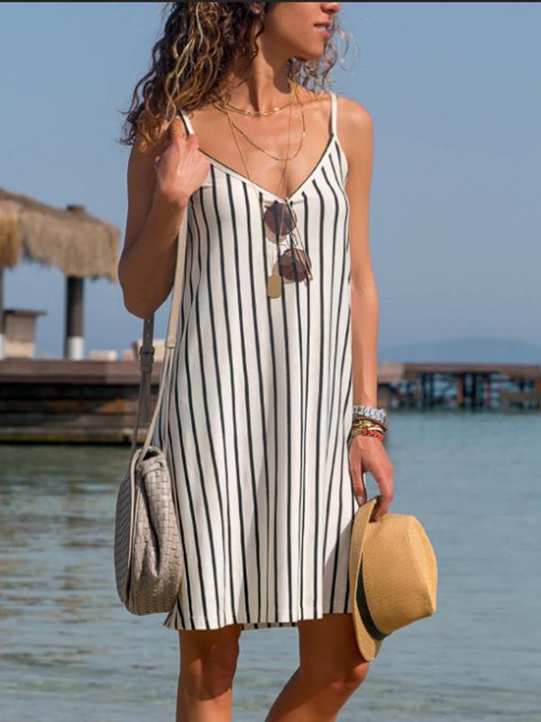 Boho Shift V Neck Striped Sleeveless Mini Dress