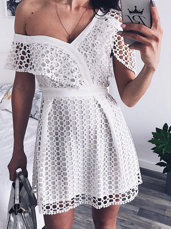 Sweet Plain Off Shoulder Defined Waist Lace Dress