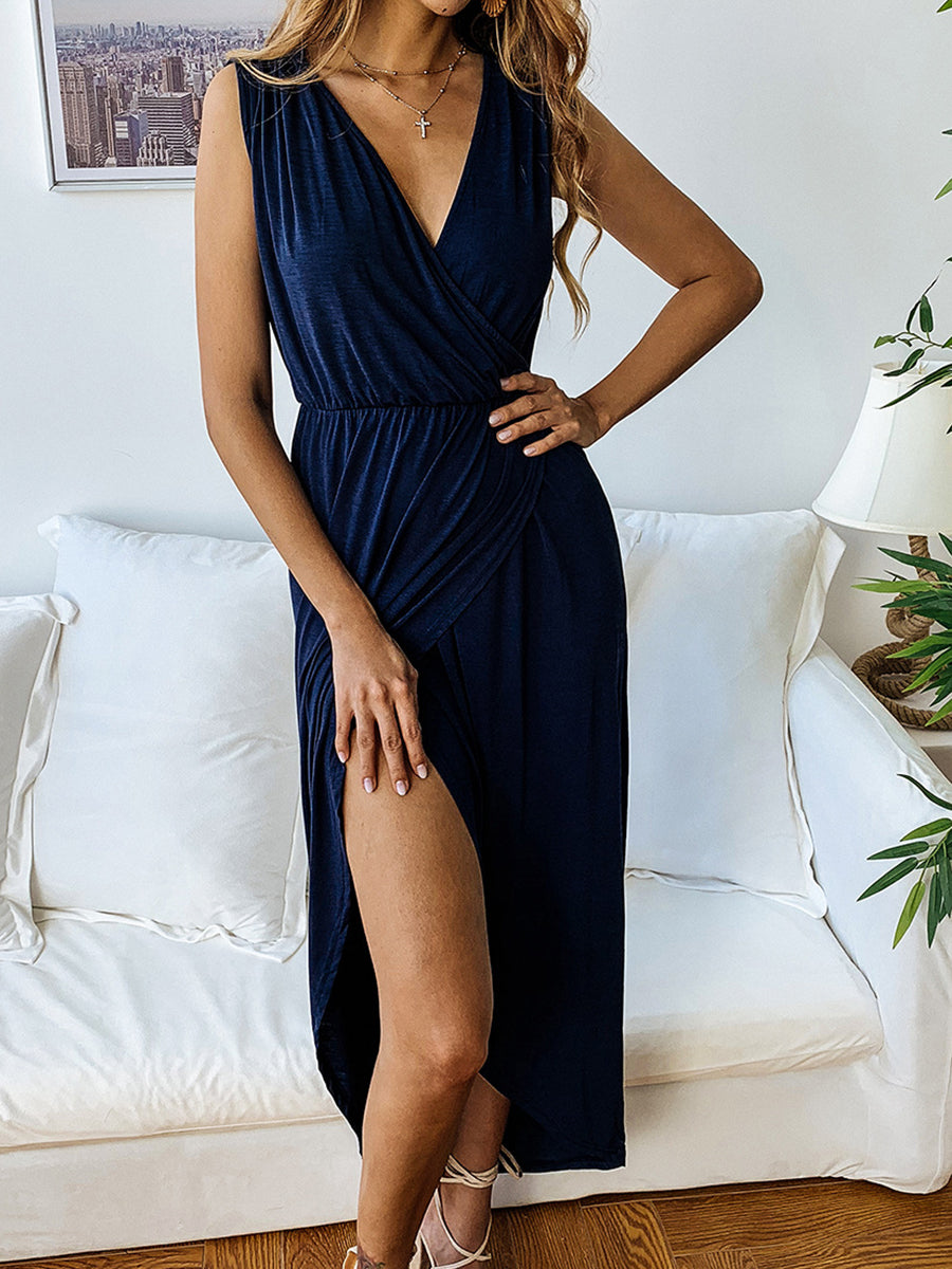 Sexy Side Split V Neck Tunic Midi Dress