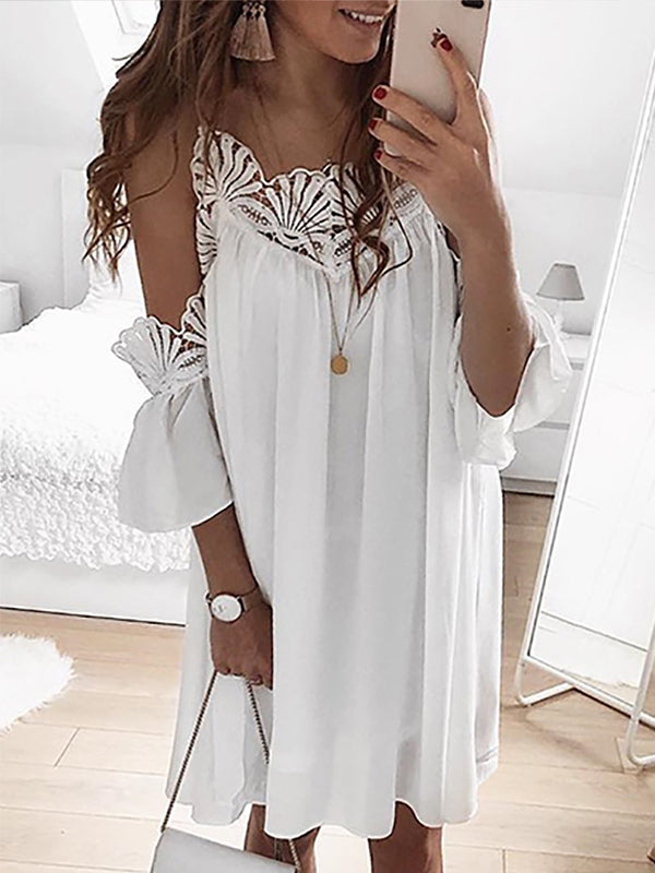 Solid Lace Patchwork Neck Short Sleeve Mini Dress