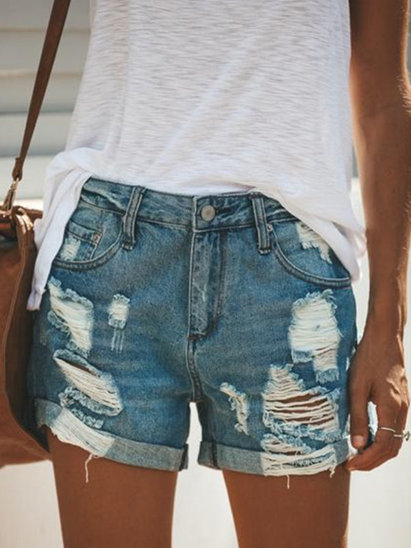 Rivet Hole Ripped Decoration Jean Shorts