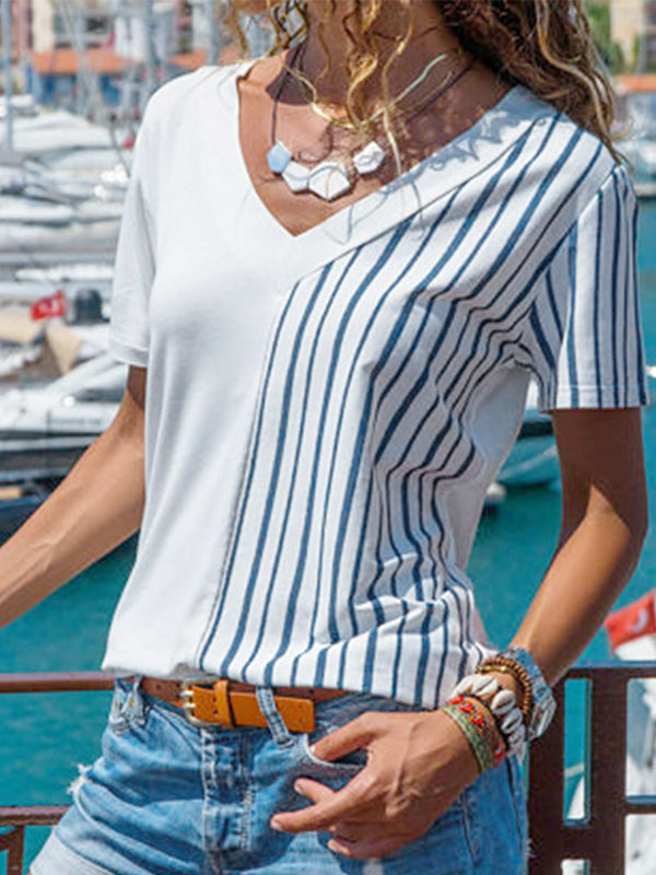 V Neck Short Sleeve Basic Striped T Shirt