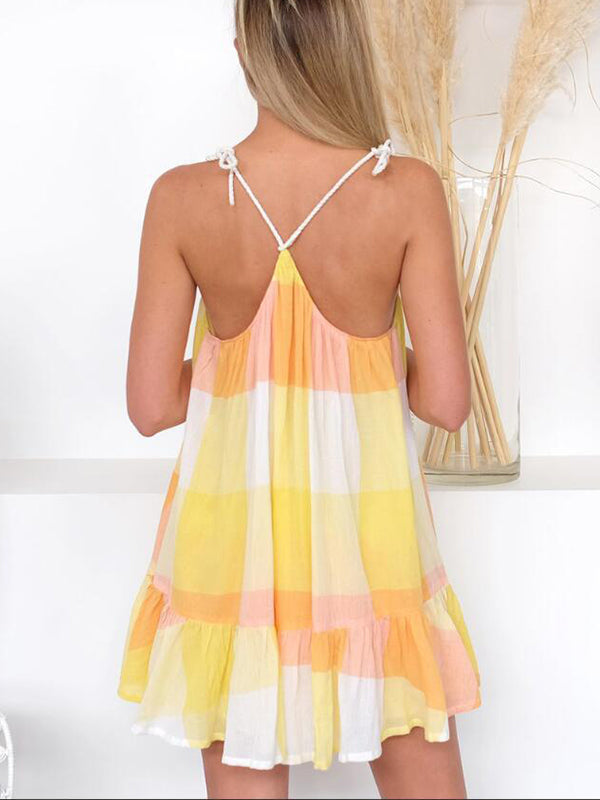 Sexy Deep V Neck Plaid Printed Loose Vacation Beachwear Mini Dress