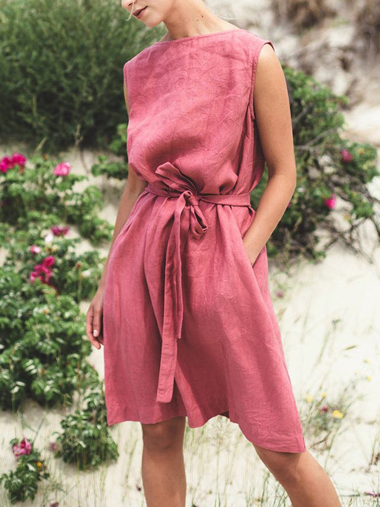 Boatneck Sleeveless Waist Belt A-Line Dress
