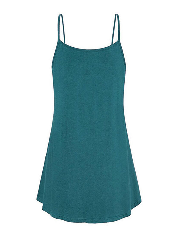 Spaghetti Strap Double Breasted Plain Dress