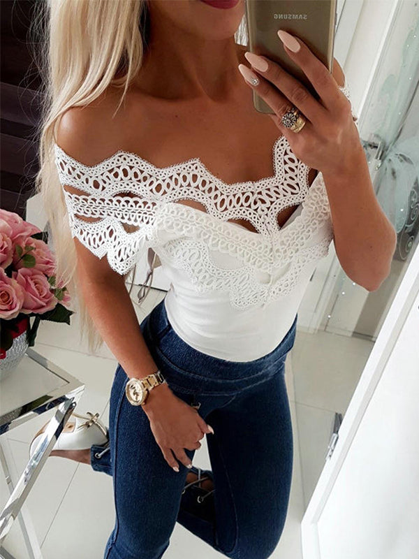 Sexy Lace Split Joint Plain Slim Off Shoulder T Shirts - LuckinChic.com