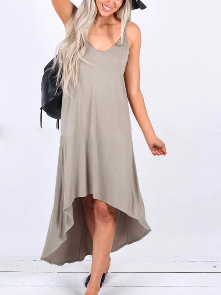 Casual V Neck Solid Sleeveless Midi Dress