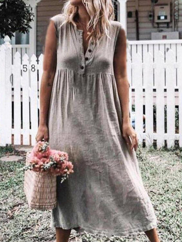 Solid Boho Short Sleeve button V Neck Dress