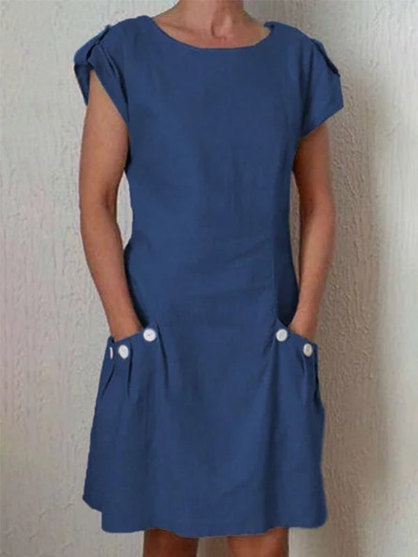 Solid Pockets Buttoned-decor Shift Linen Dresses - LuckinChic.com