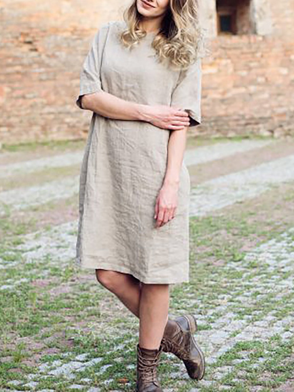 Casual Linen Half sleeve Solid Midi Dress