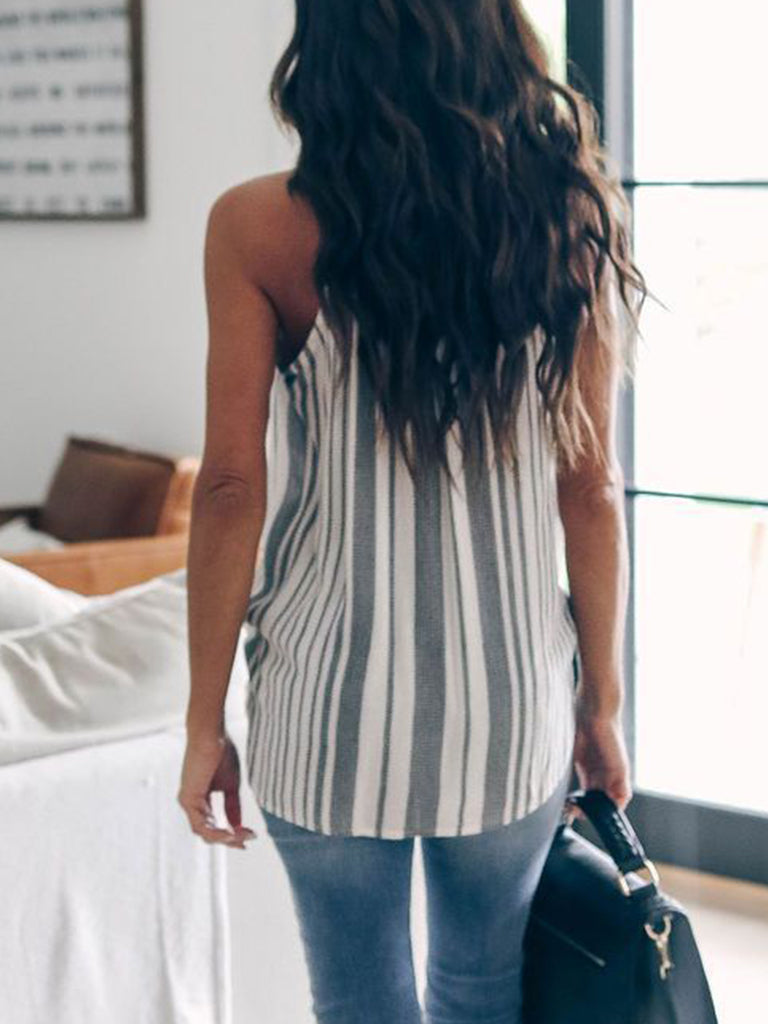 Striped Printed V Neck Drape Tank
