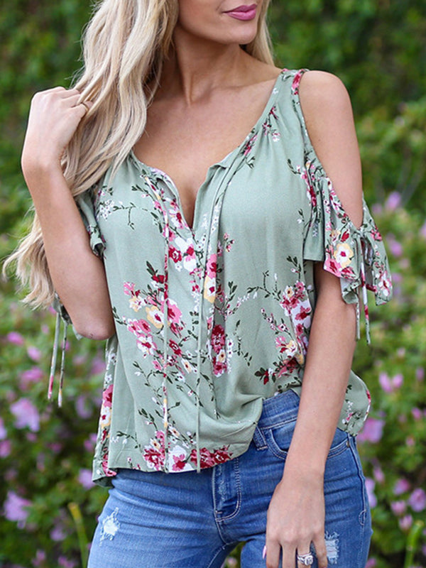 Floral V Neck Cold Shoulder Print T Shirt - LuckinChic.com