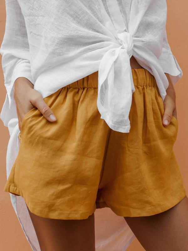 Casual Cotton Elastic Waist Shorts