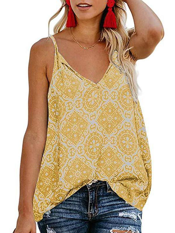 Fashion Floral Sleeveless V Neck Blouse