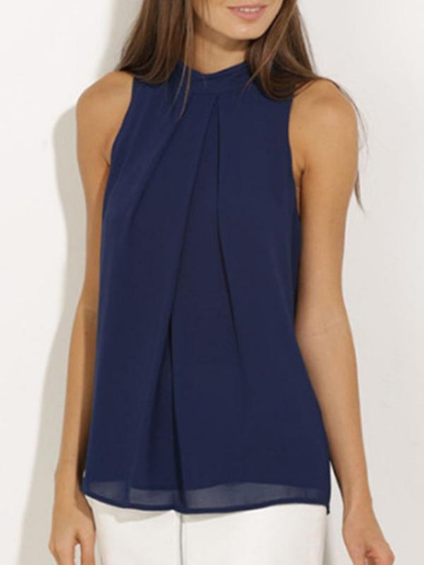 Band Collar Solid Sleeveless Blouse