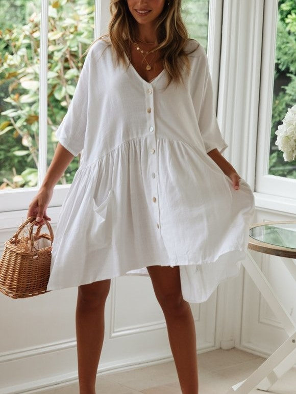 Loose Solid Button Mini A Line Dress