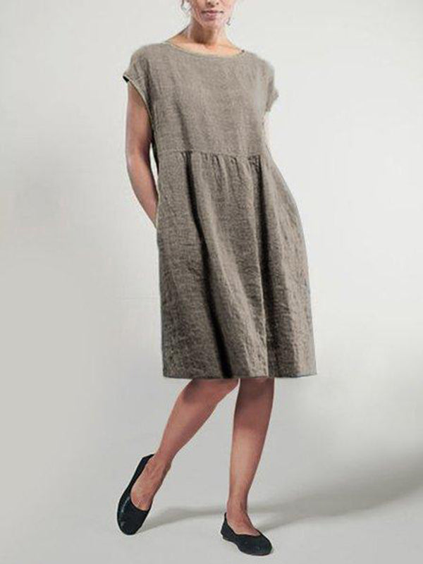 Linen Shift Short Sleeve Solid Midi Dress