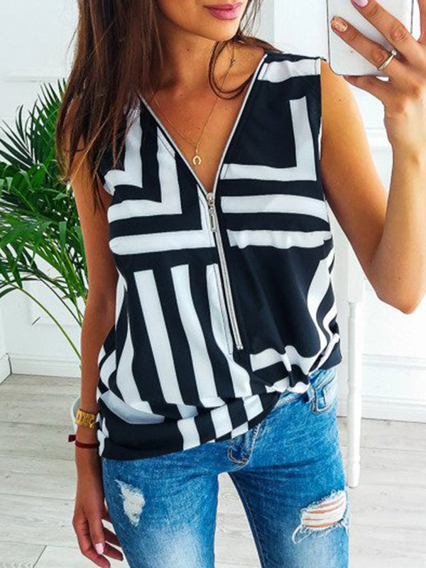 Zipper V Neck Striped Print Camis Blouse