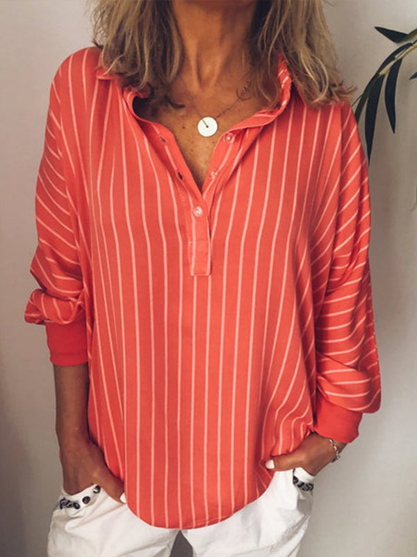 Long Sleeve Casual Striped Blouses