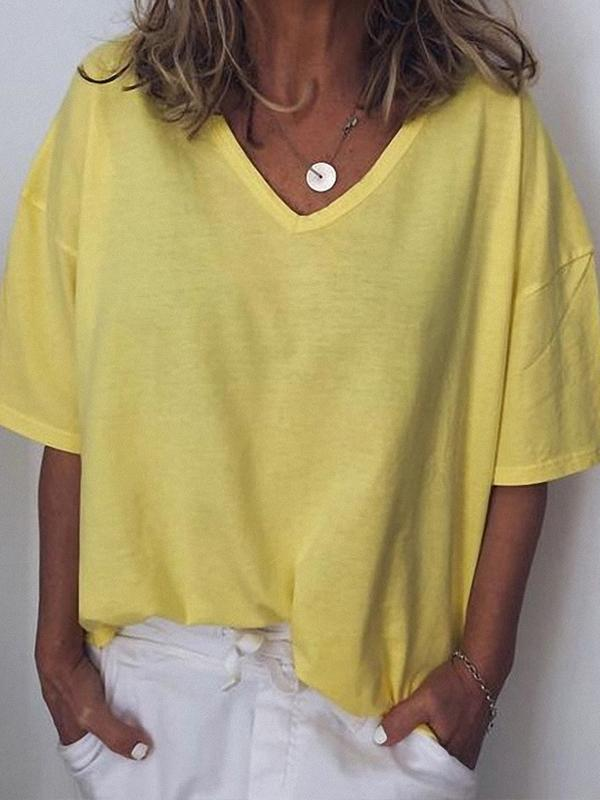 Casual V Neck Solid Color Short Sleeve Blouse Tops