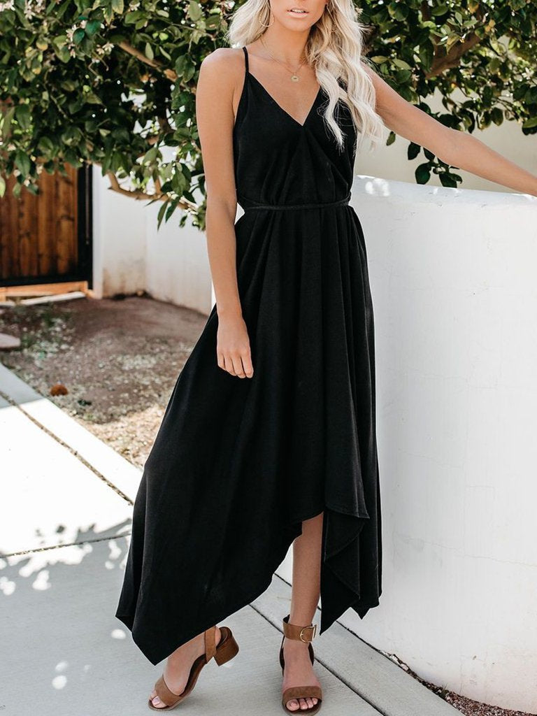 Casual Linen Spaghetti Strap Solid Maxi Dress