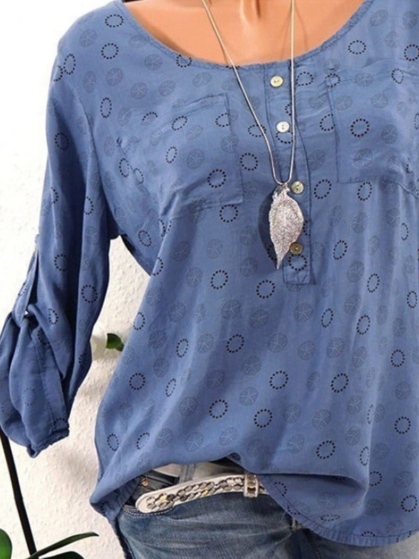 Printed Long Sleeve Round Neck Blouses
