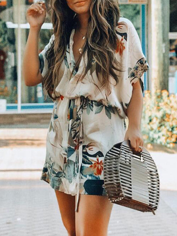 Floral Printed waist band Mini Dress