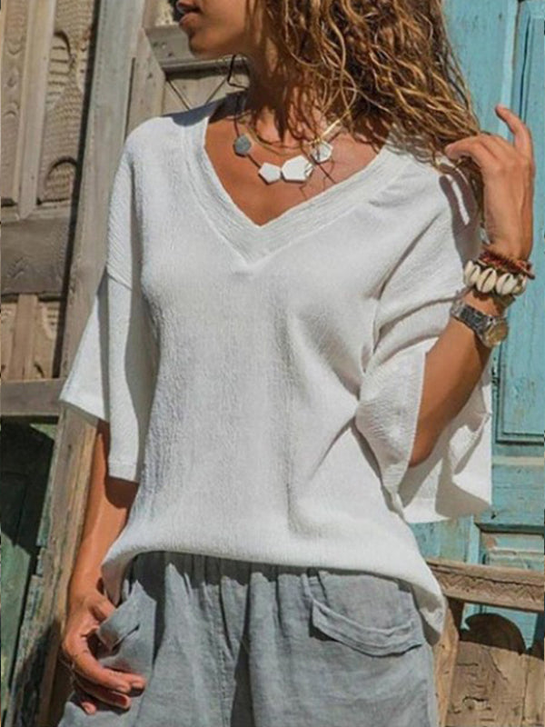 V Neck Patchwork Plain Batwing Sleeve Blouses