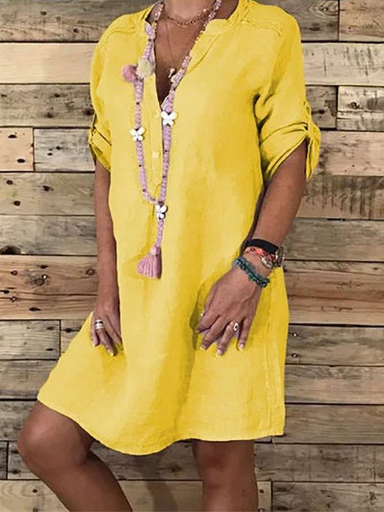 Casual V Neck Half sleeve Solid Shift Mini Dresses