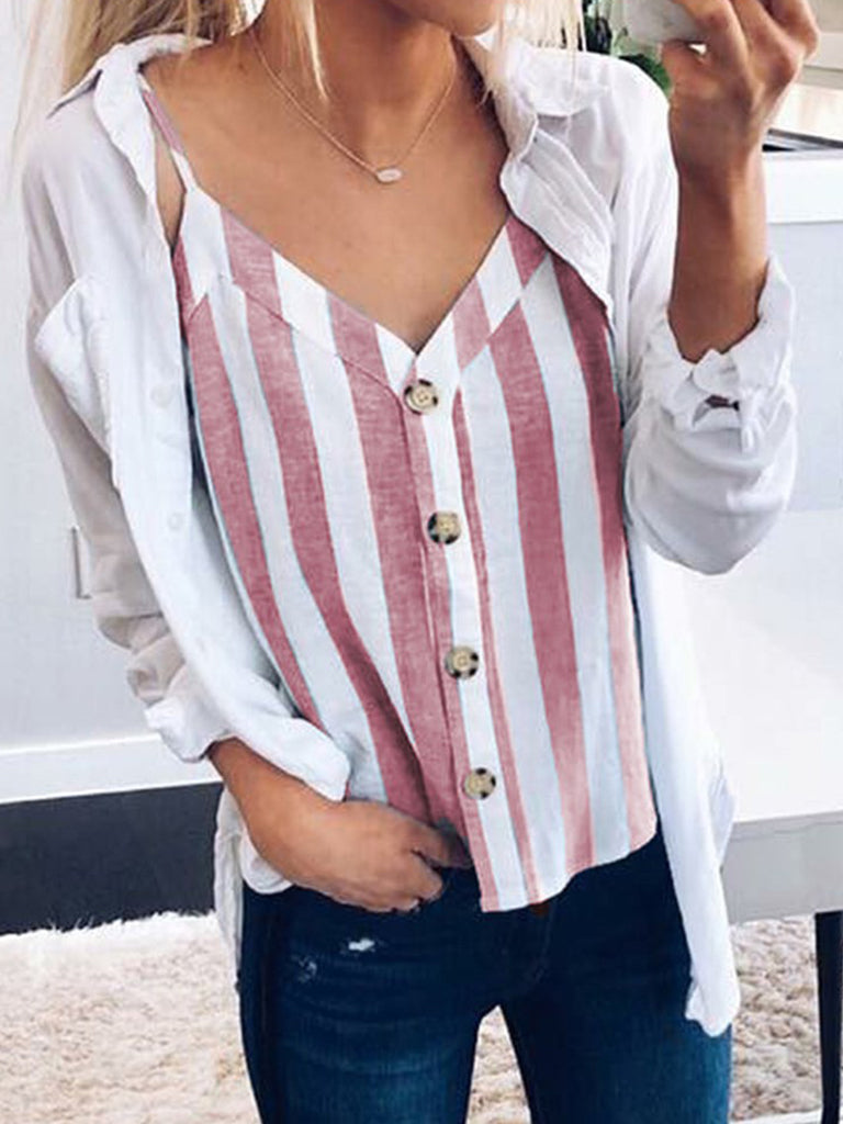 Spaghetti Strap Striped  V Neck Cami