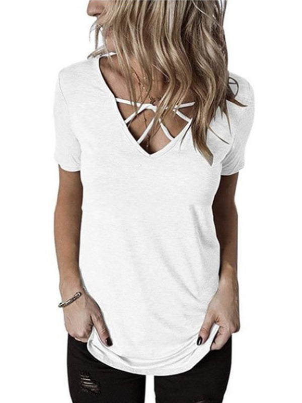 Lace Up V Neck Solid Short Sleeve T Shirts