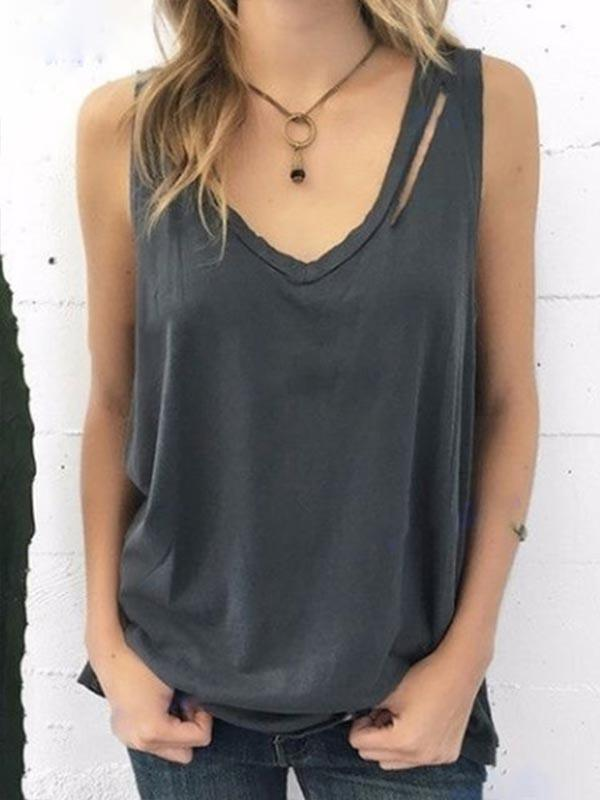 Down Collar Sleeveless Tank Tee Shirt