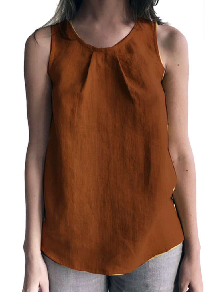 Bohemian Solid Round Neck Short Sleeve Blouses