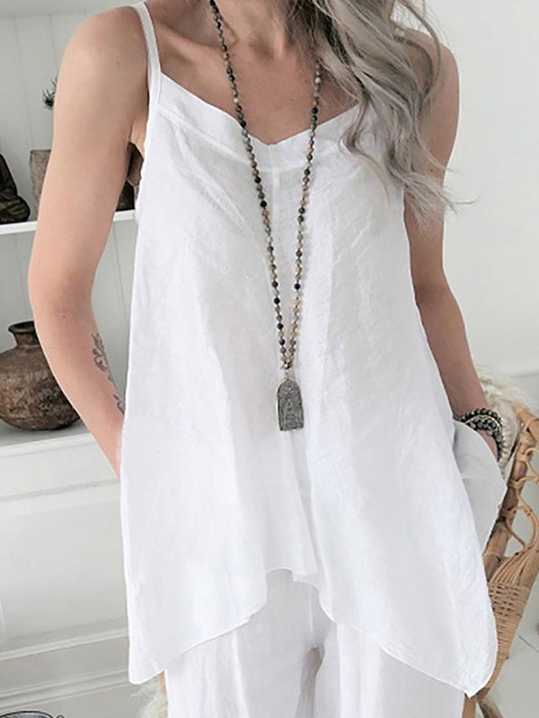 Spaghetti Strap V Neck Asymmetrical Hem and Side Slits Linen Blouse