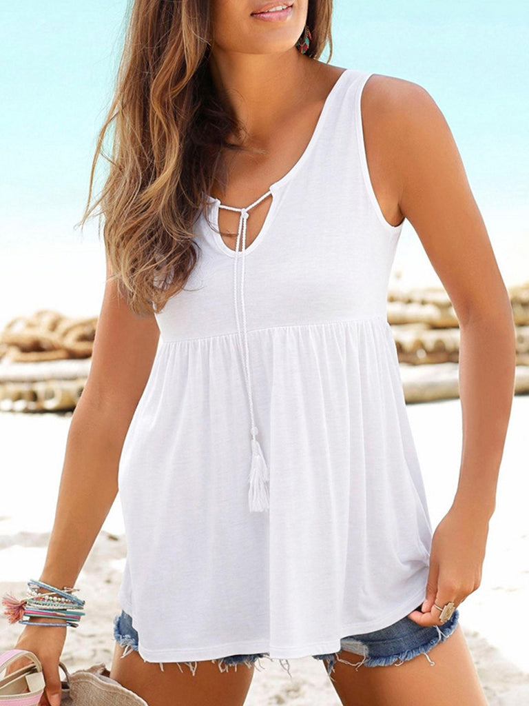 Lave Up Casual Solid Sleeveless Tank Tops - LuckinChic.com