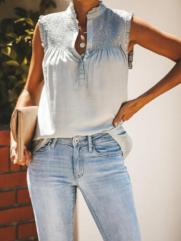 V Neck Solid Short Sleeve Blouse