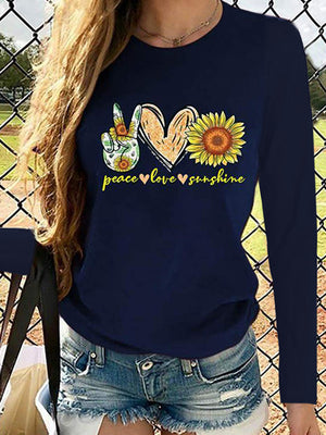 Casual Round Neck Sunflower Letter Printed Long Sleeve T-Shirt Top - Luckinchic