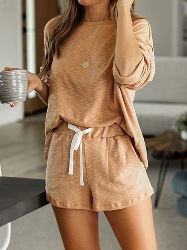 Casual Round Neck Long Sleeve Shorts 2 Piece Pajamas Set with Pockets - Luckinchic