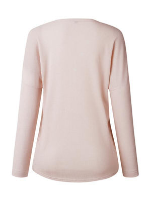 Clearance - Casual Solid Cotton Round Neck Long Sleeve Blouses - Luckinchic - LuckinChic.com