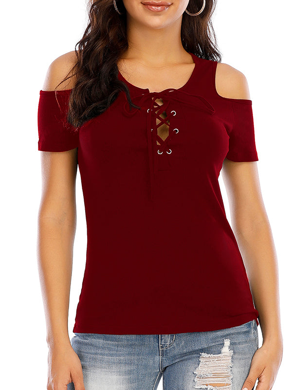 Cold Shoulder Eyelet Lace-up Top - Luckinchic