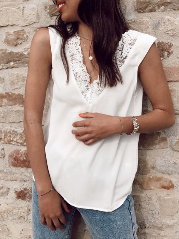 Lace Back V Neck Sleeveless Solid Blouse