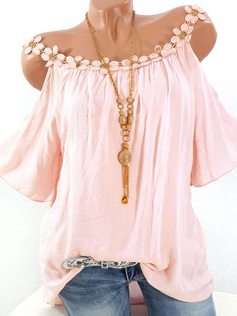 Fashionable Solid V Neckline Short Sleeve Blouse