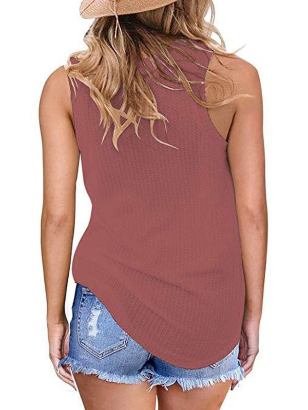 Round Neck Twist Hem Sleeveless Sexy Thin Knit Vest Top