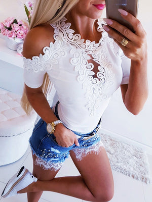 Cold Shoulder Lace Solid Sexy Short Sleeve Blouse