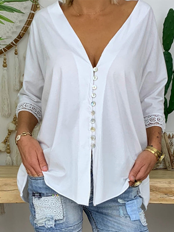 Lace 3/4 Sleeve V Neck Blouse