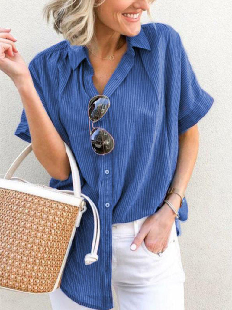 Striped Lapel Short Sleeves Button Up Casual Blouses