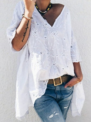 Lace V Neck Half Sleeve Loose Blouse