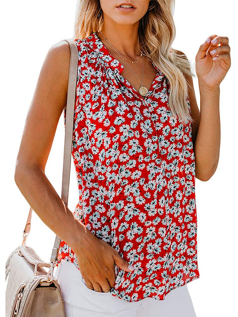 V Neck Loose Sleeveless Floral Print Blouse