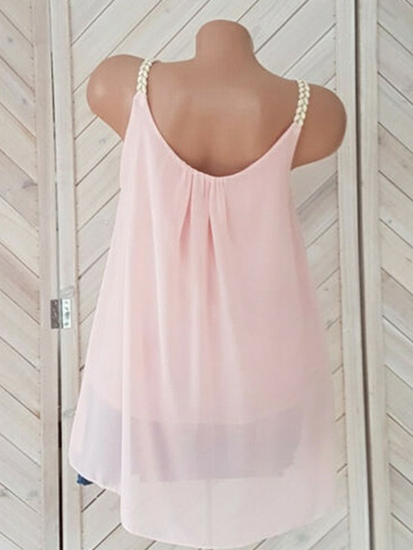 Solid Casual Sleeveless Round Neck Blouse